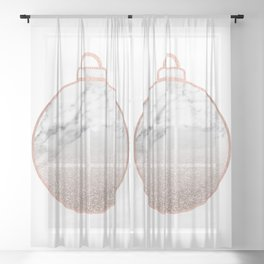 Rose gold Christmas bauble II Sheer Curtain