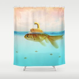 Submarine Goldfish Shower Curtain