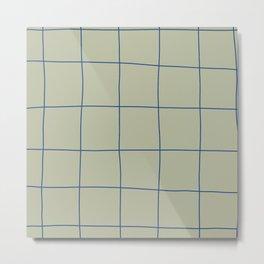 Simple Grid Green Blue Metal Print