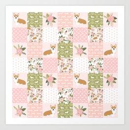Corgi Patchwork Print - blush,florals , floral, spring, girls feminine corgi dog Art Print