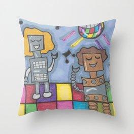 Disco Bots Throw Pillow