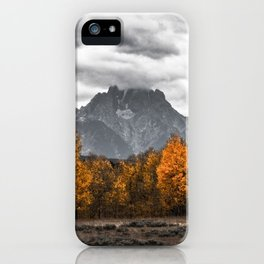 Teton Fall - Autumn Colors and Grand Tetons in Black and White iPhone Case