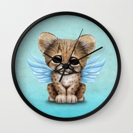 Cute Baby Cheetah Cub with Fairy Wings on Blue Wall Clock