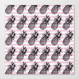 Pink Striped Pineapple Pattern Canvas Print
