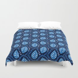 Beautiful Decorative Blue Leaves Pattern Duvet Cover