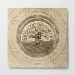 Tree of life -Yggdrasil Pastel Gold Metal Print