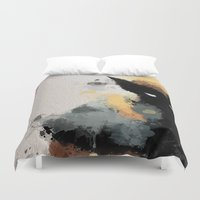 water colour Duvet Covers featuring Wolvie Water Colour by Scofield Designs