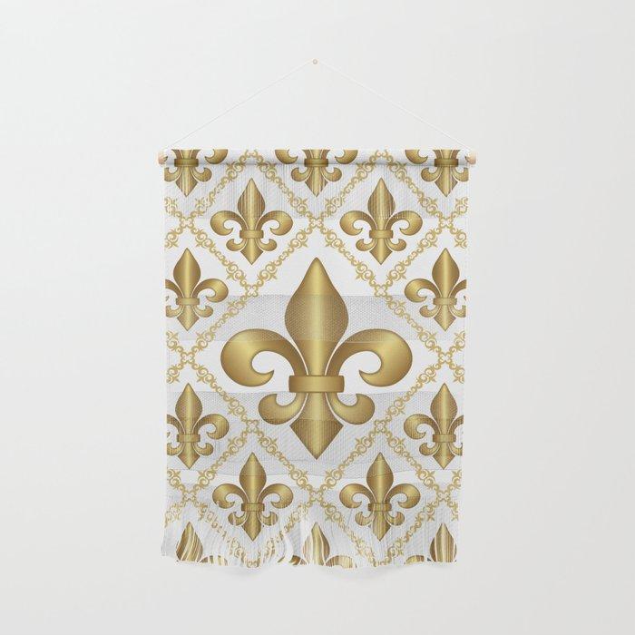 Studio Dalio - Gold Fleur-de-Lis Pattern Wall Hanging