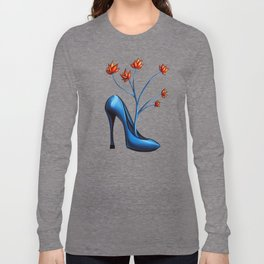 High Heel Shoe With Flowers Surreal Art Long Sleeve T-shirt