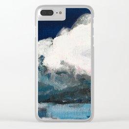 Indigo Navy white clouds Clear iPhone Case