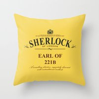 221b Throw Pillows featuring Earl of 221B by Barn Bocock
