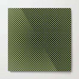 Black and Lime Polka Dots Metal Print