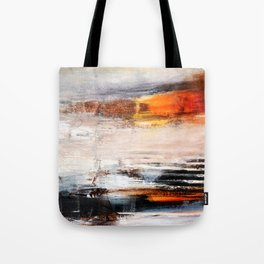 Rust White Black Abstract Painting Print  Tote Bag