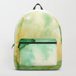 Watercolor Abstract Green Yellow Color Study Backpack