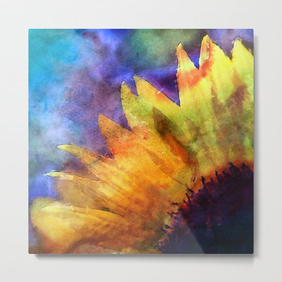 Sunflower Flower Floral on colorful watercolor texture Metal Print