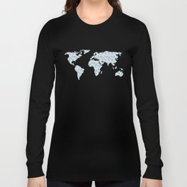 Earth Map One Sweet World Pink and Blue Long Sleeve T-shirt