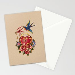 Old school True Love Lock and Key tattoo Stationery Cards
