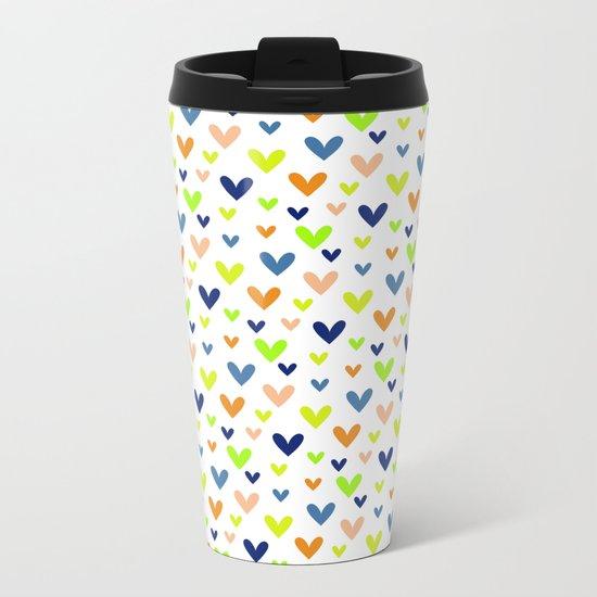 Happy Hearts on White Metal Travel Mug