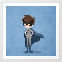superhero Art Prints featuring Superhero by made by kale