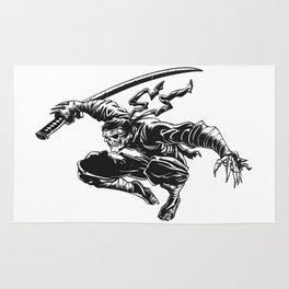 Ninja skeleton attacking , skull illustration , dark samurai , black warrior , gothic halloween Rug