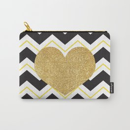 Golden Glittery Heart Carry-All Pouch