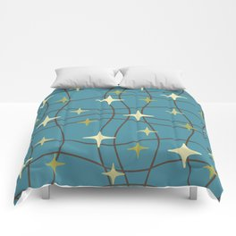 Mid Century Modern Cosmic Star Pattern 693 Beige Brown Olive and Blue Comforters