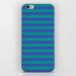 Even Horizontal Stripes, Teal and Indigo, XS iPhone Skin