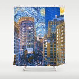 Boston Massachusetts Skyline and Starry Night Shower Curtain