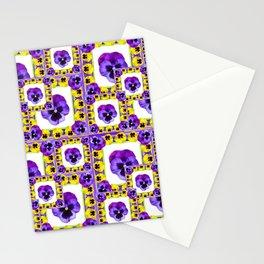 DECORATIVE PURPLE & YELLOW SPRING PANSY PATTERN ART. Stationery Cards