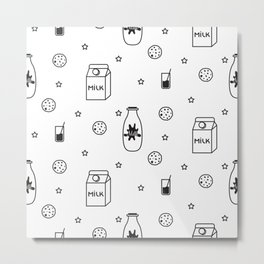 Doodle milk star cookies pattern Metal Print
