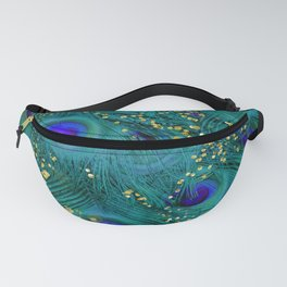 Teal Peacock Feathers Fanny Pack