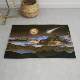 The Moon and the blue mountains Rug