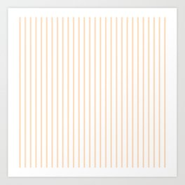 Soft Peach Pinstripe on White Art Print