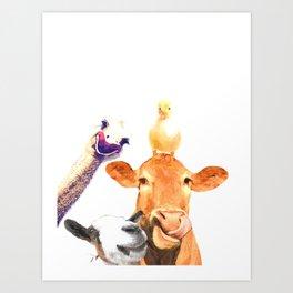Farm Animal Friends Art Print