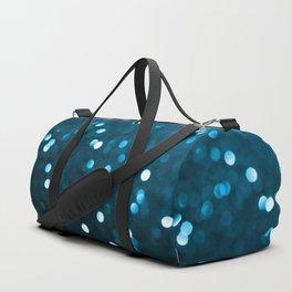 Cyan Blue Sparkly Bokeh Duffle Bag