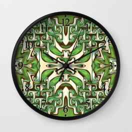 Green and Cream Spiral Bends Wall Clock