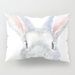 Gray Bunny Rabbit Watercolor Painting Pillow Sham