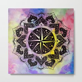 """""""Rose of the Winds""""  WATERCOLOR MANDALA (HAND PAINTED) BY ILSE QUEZADA Metal Print"""