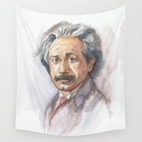 einstein Wall Tapestries featuring Albert Einstein Watercolor Portrait by Olechka