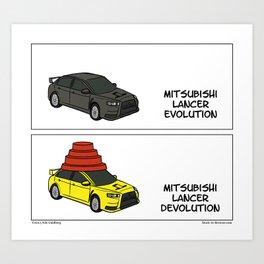 """Lancer Evolution"" -  Stuck in Reverse comic strip Art Print"