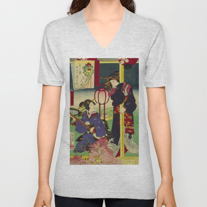 A day of twelve months in Yoshiwara Unisex V-Neck