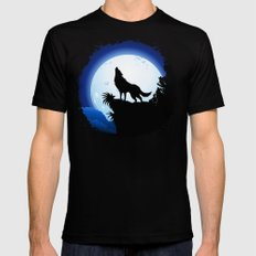 Wolf Howling at Blue Moon Mens Fitted Tee Black SMALL