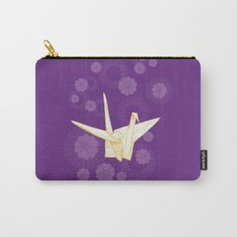 Paper Crane and Cherry Blossoms Carry-All Pouch
