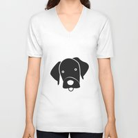 labrador V-neck T-shirts featuring Labrador by anabelledubois