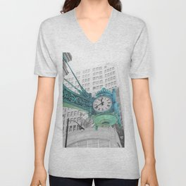The Blue Chicago Clock Unisex V-Neck