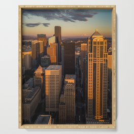 Downtown Seattle Sunset Serving Tray