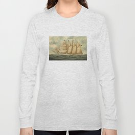 Vintage Illustration of a Large Sailing Yacht (1919) Long Sleeve T-shirt