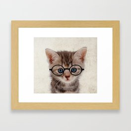 Kitten with Glasses Framed Art Print