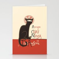 scary Stationery Cards featuring A French Ninja Cat (Le Chat Ninja) by Kyle Walters