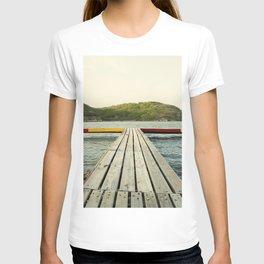 Pier in Caribbean lake T-shirt
